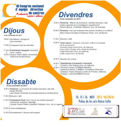 Programa: III Congreso Nacional. Los profesionales de la Asociación ♣ ADEME ♣ se responsabilizaron de algunas Ponencias y Mesas Redondas (consultar margen derecho)