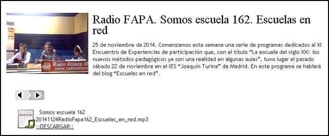 Radio FAPA. Somos escuela 162. Rodrigo J. García. Escuelas en red