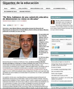 Juan Manuel Moreno, especialista principal de Educación del Departamento de Educación de Oriente Medio y Norte de África del Banco Mundial